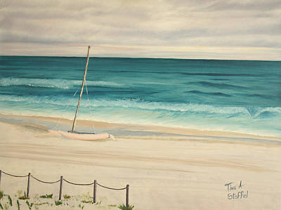 Sailboat In The Ocean Breeze Poster by Tina Stoffel