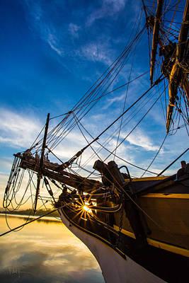 Sailboat Sunrise Poster by Robert Bynum