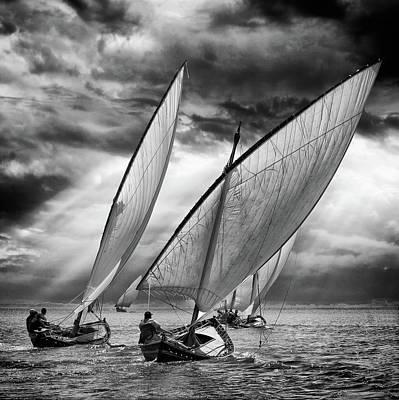 Sailboats And Light Poster by Angel Villalba