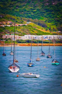 Sailboats At Simons Town Poster by Cliff C Morris Jr
