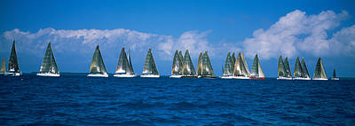Sailboats Racing In The Sea, Farr 40s Poster by Panoramic Images