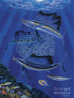 Sailfish Round Up Off0060 Poster by Carey Chen