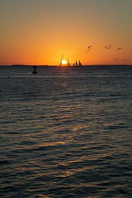 Sailing Boats At Sunset Poster by Jim West
