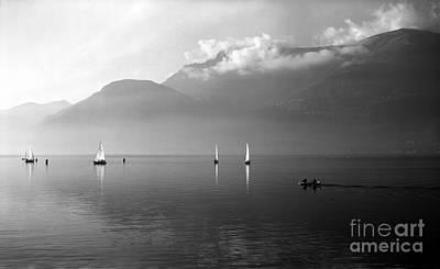 Sailing Boats On Como Lake Poster by Riccardo Mottola