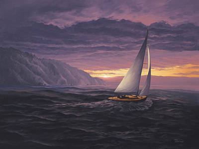 Sailing In Paradise - Big Sur Poster by Del Malonee