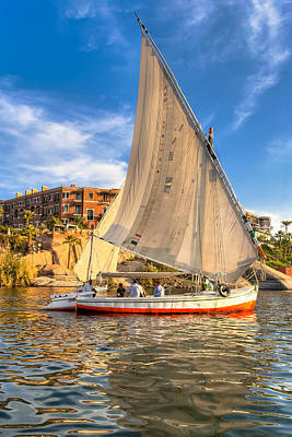 Sailing The Nile On A Beautiful Felucca Poster by Mark E Tisdale