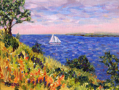Sailing Through Belfast Maine Poster by Pamela Parsons