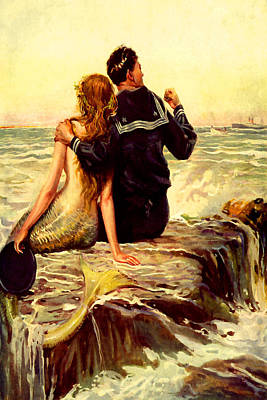 Mermaid And Sailor At Sunset - At The Beach America Poster by Private Collection