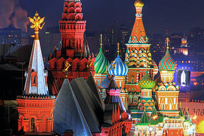 Saint Basils Cathedral On Red Square In Moscow Poster by Lars Ruecker