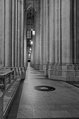 Saint John The Divine Cathedral Columns Bw Poster by Susan Candelario