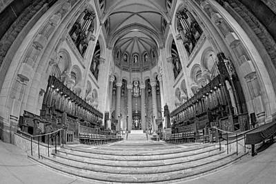 Saint John The Divine Cathedral High Altar  IIi Bw Poster by Susan Candelario
