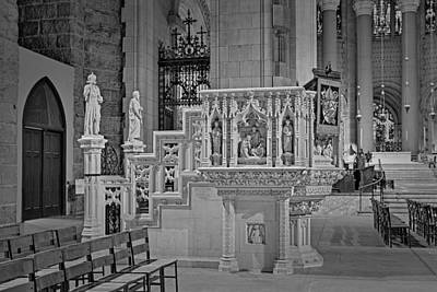Saint John The Divine Cathedral Pulpit Bw Poster by Susan Candelario