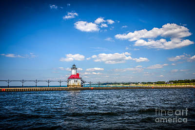 Saint Joseph Lighthouse And Pier Picture Poster by Paul Velgos