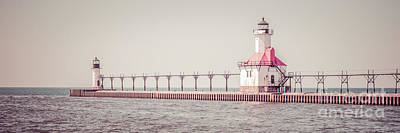 Saint Joseph Michigan Lighthouse Panorama Picture  Poster by Paul Velgos