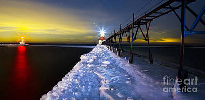 Saint Joseph Pier And Light Poster by Twenty Two North Photography