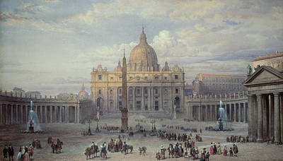 Saint Peters In Rome Poster by Louis Haghe