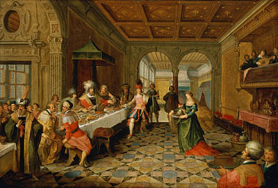 Salome Presenting The Head Of St. John The Baptist To King Herod Oil On Panel Poster by Frans Francken