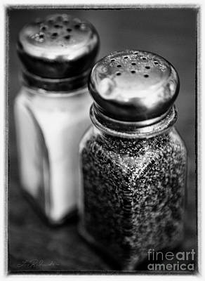 Salt And Pepper Shaker  Black And White Poster by Iris Richardson