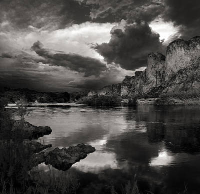 Salt River Stormy Black And White Poster by Dave Dilli