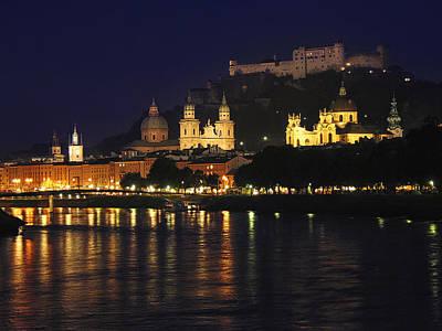 Salzburg At Twilight Poster by Andrew Soundarajan