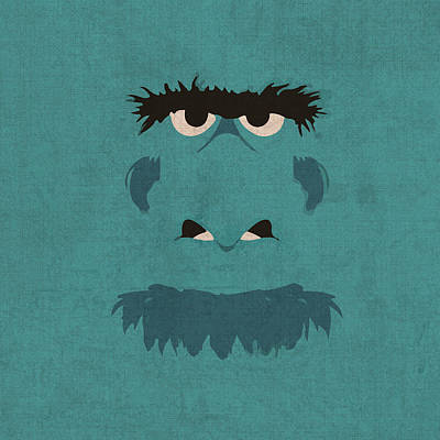 Sam The Eagle Vintage Minimalistic Illustration On Worn Distressed Canvas Series No 005 Poster by Design Turnpike