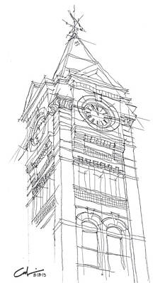 Samford Hall Sketch Poster by Calvin Durham