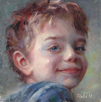 Sammy In Blue - Portrait Of A Boy Poster by Talya Johnson
