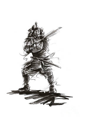 Samurai Complete Armor Warrior Steel Silver Plate Japanese Painting Watercolor Ink G Poster by Mariusz Szmerdt