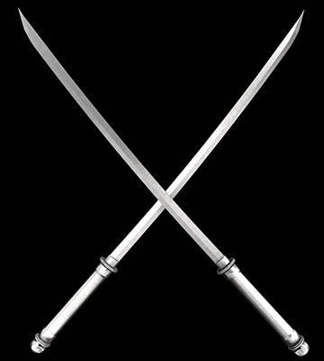 Samurai Katana On Black Poster by Nenad Cerovic