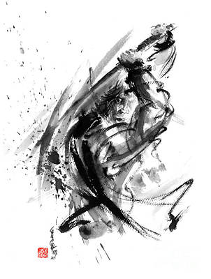 Samurai Ronin Wild Fury Bushi Bushido Martial Arts Sumi-e Original Ink Painting Artwork Poster by Mariusz Szmerdt