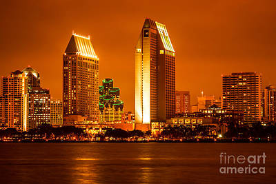 San Diego Skyline At Night Along San Diego Bay Poster by Paul Velgos