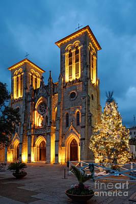 San Fernando Cathedral And Christmas Tree Main Plaza - San Antonio Texas Poster by Silvio Ligutti