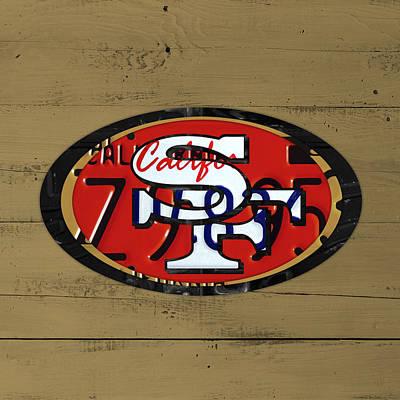 San Francisco 49ers Football Team Retro Logo California License Plate Art Poster by Design Turnpike