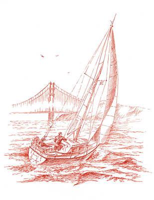 San Francisco Bay Sailing To Golden Gate Bridge Poster by Irina Sztukowski