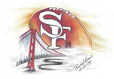 San Francisco Football In Fog Poster by Rachel Lucas-Bertsch