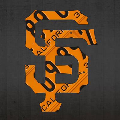 San Francisco Giants Baseball Vintage Logo License Plate Art Poster by Design Turnpike