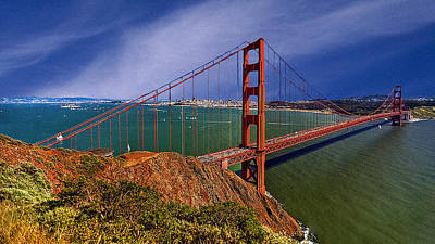 San Francisco Golden Gate Bridge Poster by Bob and Nadine Johnston