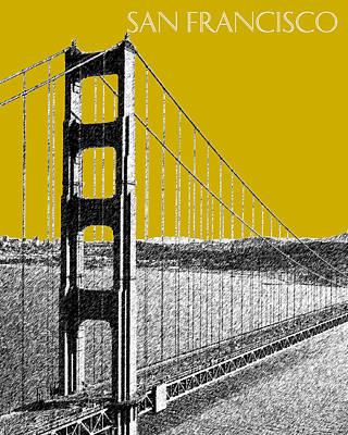 San Francisco Skyline Golden Gate Bridge 1 - Gold Poster by DB Artist