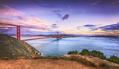 San Francisco Sunset And The Golden Gate Bridge From Marin Headlands 2 Poster by The  Vault - Jennifer Rondinelli Reilly