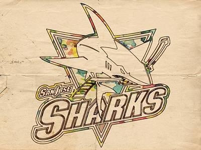 San Jose Sharks Vintage Poster Poster by Florian Rodarte