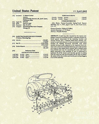 Sand Trap Rake 1971 Patent Art Poster by Prior Art Design