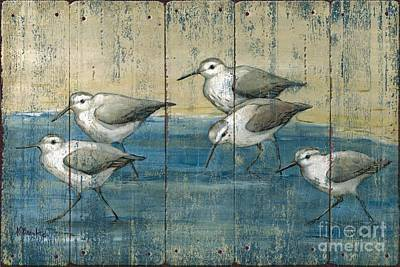 Sandpipers Oil Distressed Poster by Paul Brent