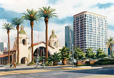 Santa Fe Depot San Diego Poster by Mary Helmreich