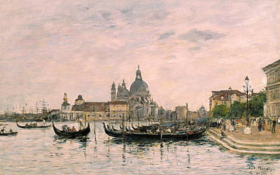 Santa Maria Della Salute And The Dogana Poster by Eugene Louis Boudin