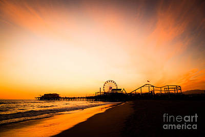 Santa Monica Pier Sunset Southern California Poster by Paul Velgos