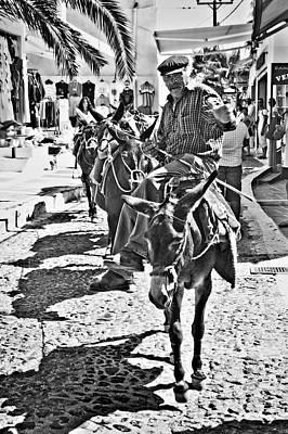 Santorini Donkey Train. Poster by Meirion Matthias