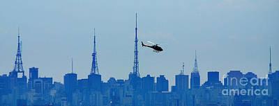 Sao Paulo - Paulista Skyline And Helicopter Poster by Carlos Alkmin
