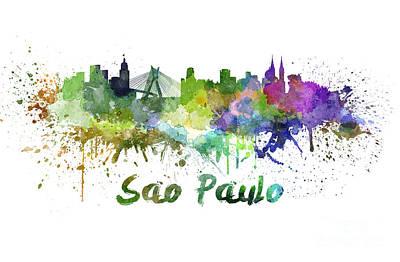 Sao Paulo Skyline In Watercolor Poster by Pablo Romero