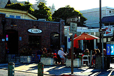 Sausalito Cafe Digital Art Poster by DeAnna Denise Adams