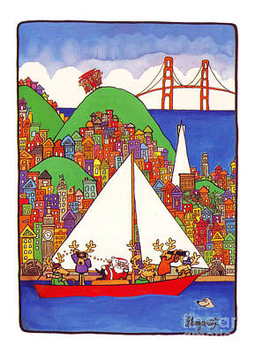 Sausalito Christmas Poster by Robert Gumpertz